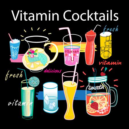Beautiful graphics set of vitamin cocktails Illustration
