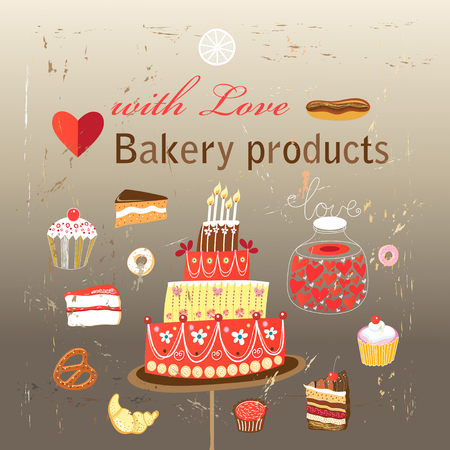 Vector set of different baking on a dark background