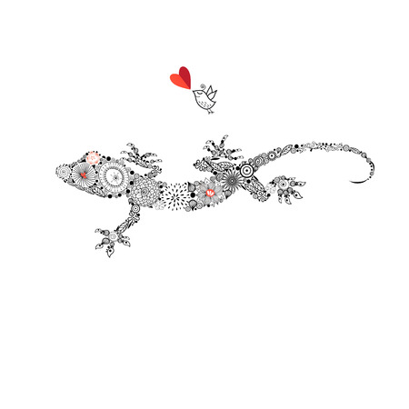 Ornamental beautiful gecko on a white background