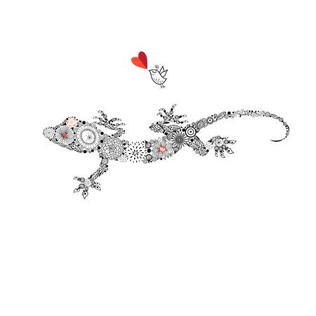 Ornamental beautiful gecko on a white background
