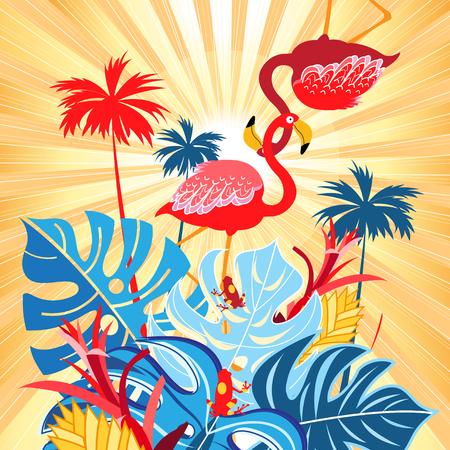 明るい熱帯フラミンゴはがき  イラスト・ベクター素材