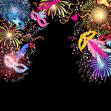 Bright colorful a carnival background with mask Illustration