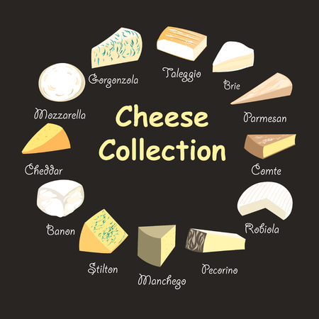 graphic beautiful collection of cheeses on a dark background Фото со стока - 90215034