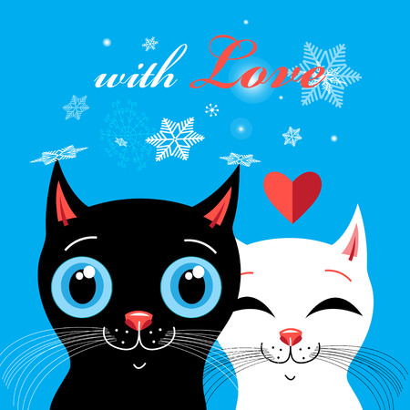 Graphics with enamored cats on a blue background