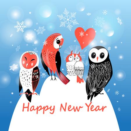 눈송이와 파란색 배경에 올빼미와 축제 겨울 엽서
