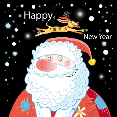 산타 클로스와 개는 어두운 배경에 크리스마스 카드 일러스트