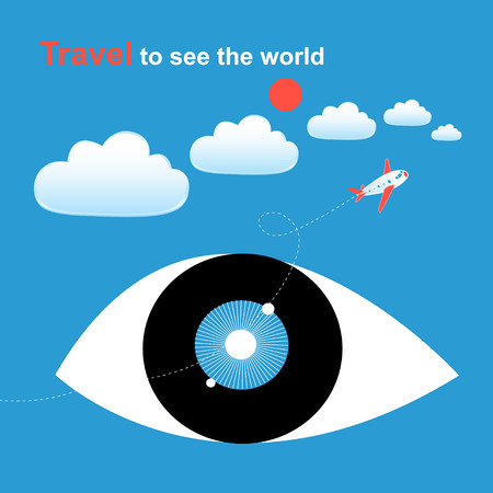 Graphics of big eyes against the sky with clouds