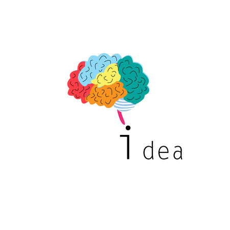 Multicolored brain graph on white background