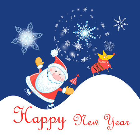 New Year celebration card with Santa Claus and dog on blue background with snowflakes
