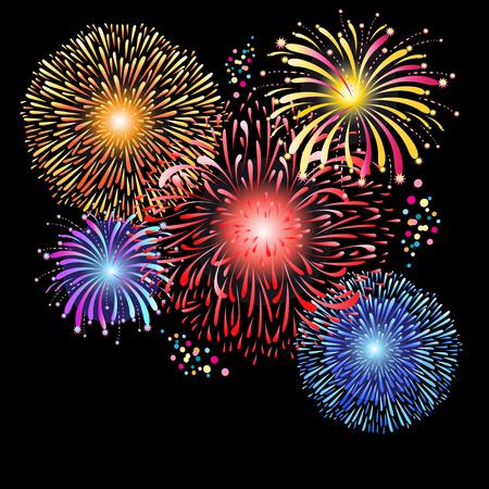Prachtige afbeeldingen van veelkleurig vuurwerk op een donkere achtergrond