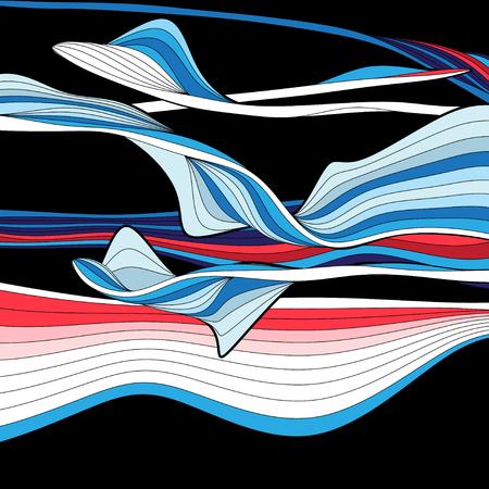 明るい溝波状の抽象ベクトルの背景