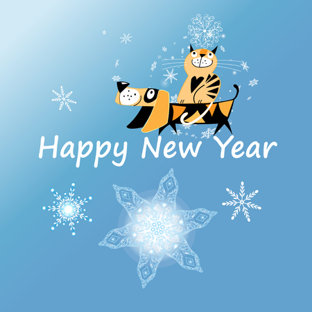 New Year greeting card with dog and cat on blue background with snowflakes Illustration