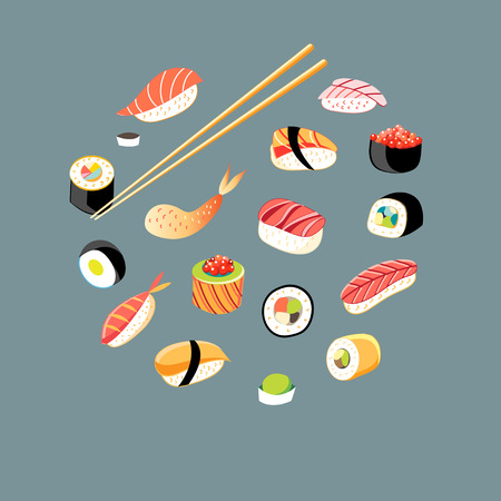 Vector beautiful set of different sushi on a blue background