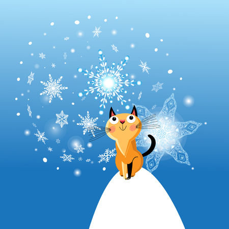 Winter card with cat on blue background with snowflakes Çizim