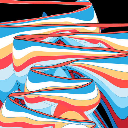 Abstract multicolored background with different linear waves  Illusztráció