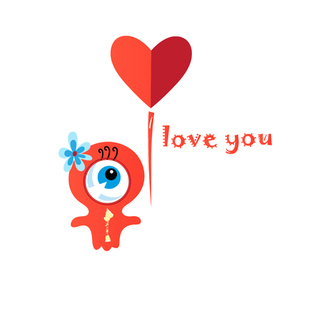 Loving little funny monster with heart on a white background 向量圖像