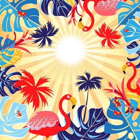 太陽の光を背景に、葉っぱに対する明るい熱帯フラミンゴはがき
