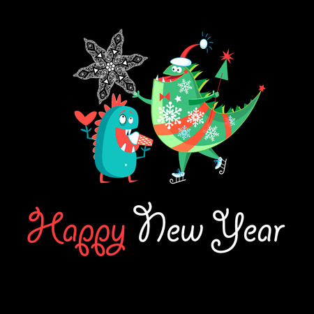 Winter card with a cheerful New Years dinosaur on a dark background