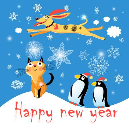 고양이, 개와 눈송이와 파란색 배경에 펭귄 겨울 엽서