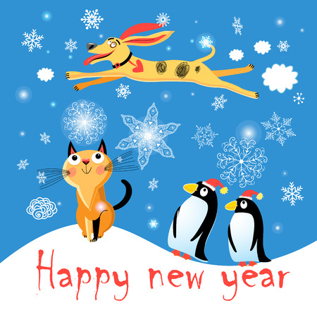 Winter postcard with a cat, dog, and penguins on a blue background with snowflakes