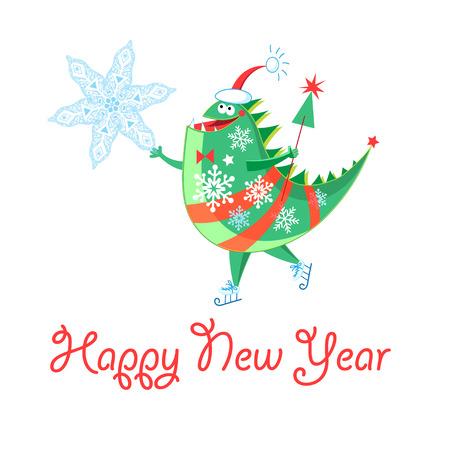 흰색 배경에 명랑 한 새 해 공룡 겨울 카드 일러스트