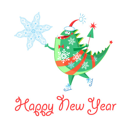 Winter card with a cheerful New Year dinosaur on a white background
