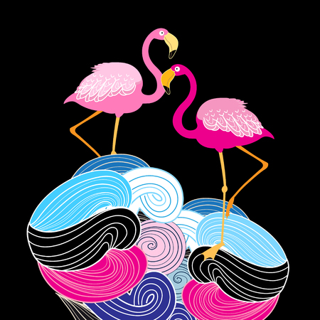 Pink flamingos on an abstract background