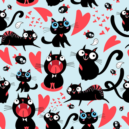 明るい背景に面白い愛する猫のクールなシームレス パターン。  イラスト・ベクター素材