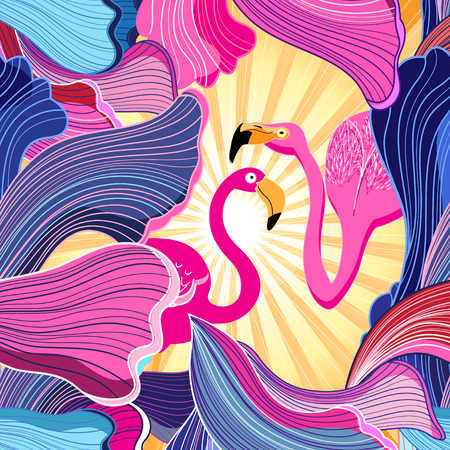 Color vector abstract pattern with pink flamingo Illustration