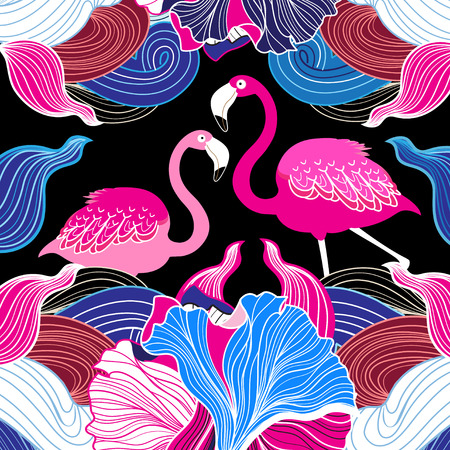 Color vector abstract pattern with pink flamingo Иллюстрация
