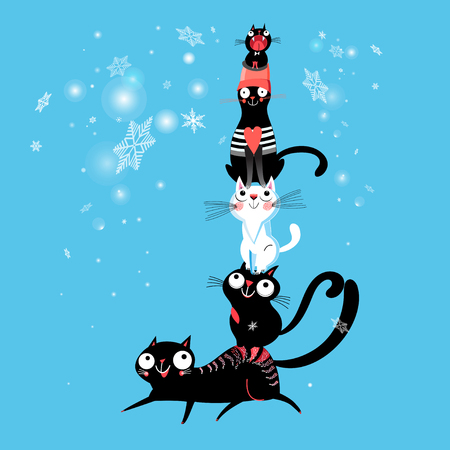 Cheerful New Year card with a pyramid of cats on a blue background with snowflakes