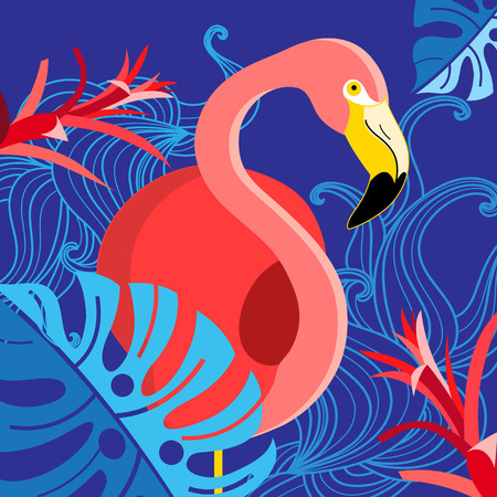Tropical illustration with a portrait of a red flamingo on a blue background