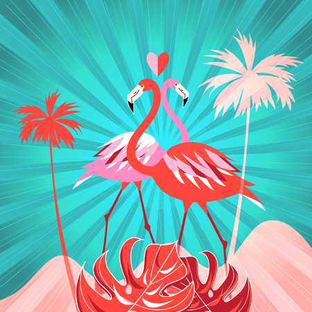 Tropical illustration with palm trees and flamingos on a background with rays of sun.