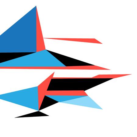 Heldere kleuren abstracte vorm van driehoeken op een witte achtergrond Stock Illustratie