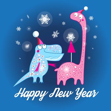 어두운 배경에 공룡과 크리스마스 트리가있는 크리스마스 카드 일러스트