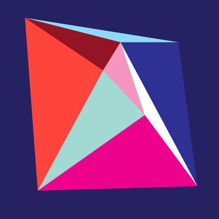 Felle kleuren abstracte vorm van driehoeken op een blauwe achtergrond
