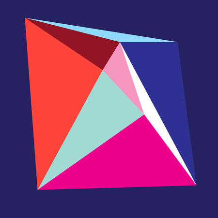 Bright color abstract form from triangles on a blue background Illustration