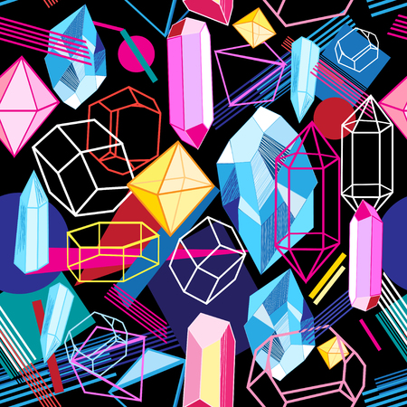 暗い抽象的な背景にカラフルな結晶と美しいシームレスなパターン