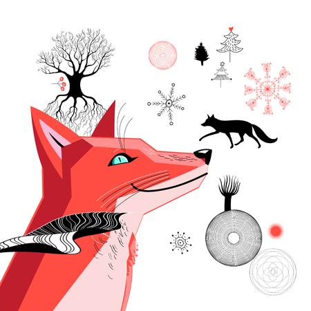 흰색 배경에 붉은 여우의 그래픽 아름 다운 초상화