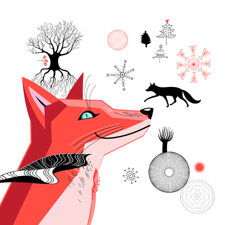 Graphic beautiful portrait of a red fox on a white background