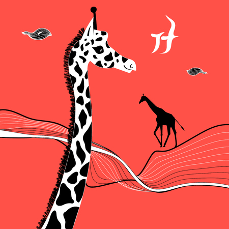 Graphic beautiful portrait of a giraffe on a red background