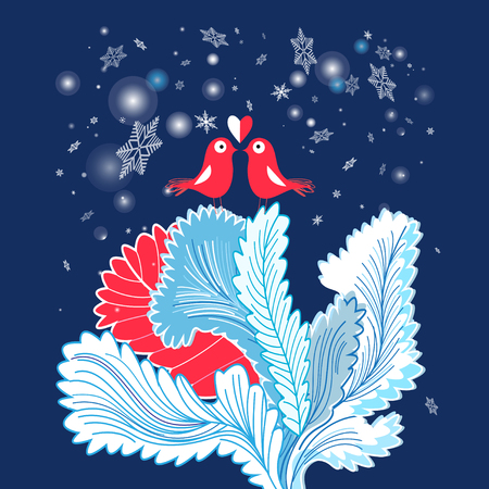 Christmas card with enamored birds on a blue background with snowflakes. Illustration
