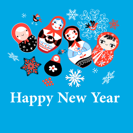 New Years greeting card on funny dolls on a blue background with snowflakes