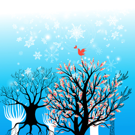 Beautiful winter holiday background with trees and snowflakes on blue Stok Fotoğraf