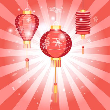 光線と赤い背景に中国の提灯と新年の明るいはがき