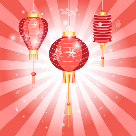 New Years bright postcard with Chinese lanterns on a red background with rays Ilustração