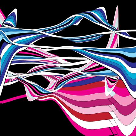 異なるストライプの装飾を持つ抽象的な多色の背景