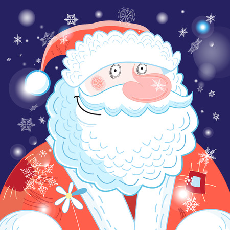 밝은 엽서 새해 세로 산타 클로스 파란색 배경에