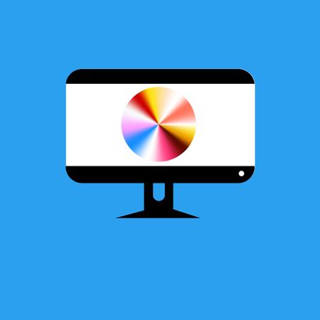 青い背景のベクトルコンピュータモニタアイコン