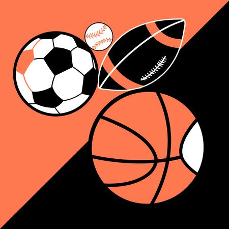 Vector bright poster different sport balls for design Illustration